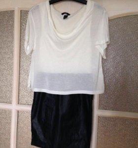 Платье с кожаной юбкой H&M