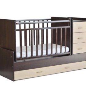 Кровать трансформер детская + матрас + наматрасник