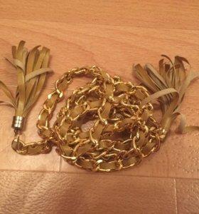 Ремень женский с золотом
