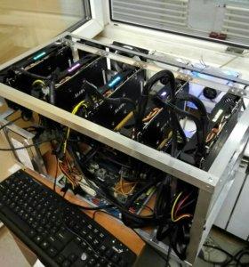 Майнинг риг (ферма) Gigabyte GTX 1050Ti G1 4gb 5шт