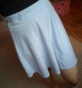Белая юбка в полоску летняя