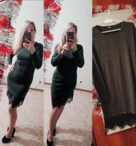 Платье серое с гипюром по подолу новое