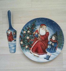 Тарелка лопатка для торта, салата Новый год