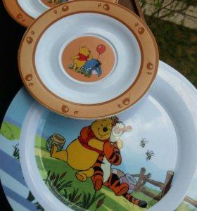 Набор пластиковых детских тарелок
