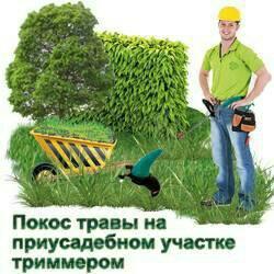 Покос травы на приусадебном участке.