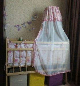Кровать с матрасом+бортики+подушка+одеяло+комплект