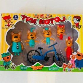 Три кота набор игрушек 5 персонажей с велосипедом