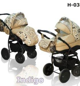Коляска с рождения 2 в 1 Slaro Indigo Khokhloma