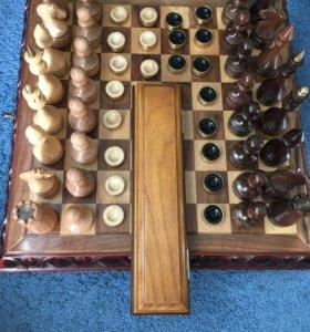 Шахматы + шашки ручной работы!