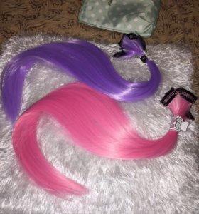 Набор искус-х волос на заколках сиреневый цвет