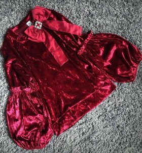 Блузка бордовая из бархата с бантиком