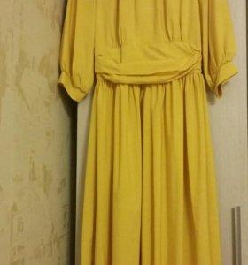 Платье вечернее желтое новое
