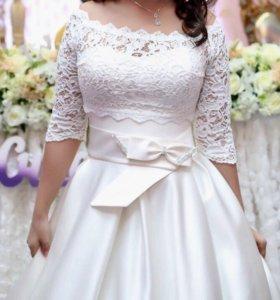 Шикарное атласовое платье