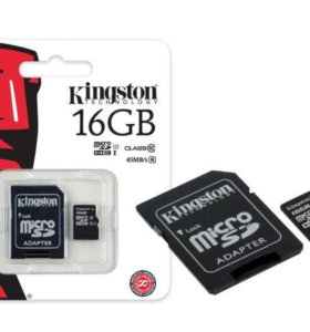 Флешка MICRO_SD KINGSTON CLASS 10 16 GB + ADAPTER