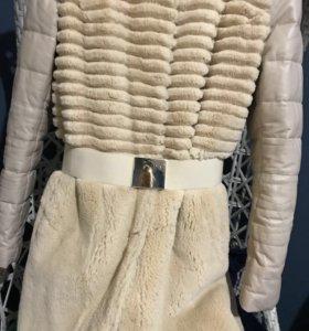 Зимнее пальто из натуральной кожи и меха