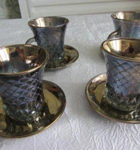Набор кофейных чашек из стекла с позолотой