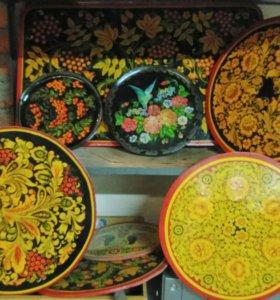 Подносы и тарелки в русском стиле