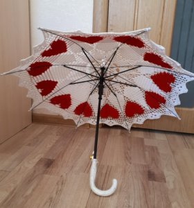 Белый вязанный зонт