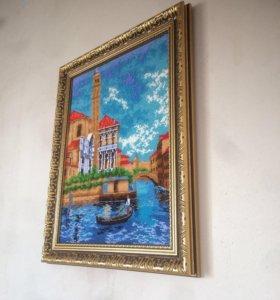 Картина вышивка бисером полная 30*40. Венеция