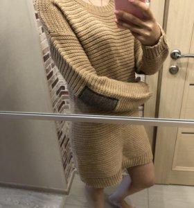Мягкий свитер платье 46 размер