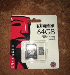 Карта памяти Kingston Micro SD 64 Gb