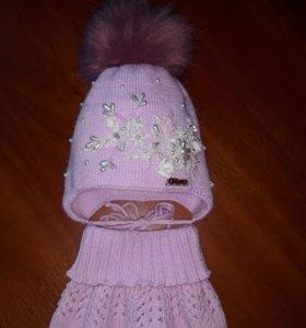 Зимний набор(шапка+манишка)
