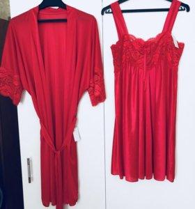 Комплект халат и сорочка новый