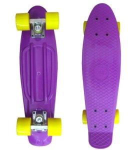 Пенни борд ecoBalance фиолетовый с желтыми колесам