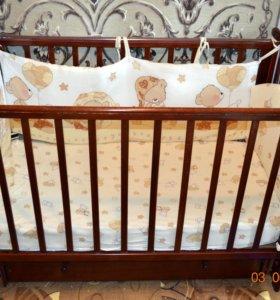 Детская кровать Кубаньлесстрой Лютик + матрас