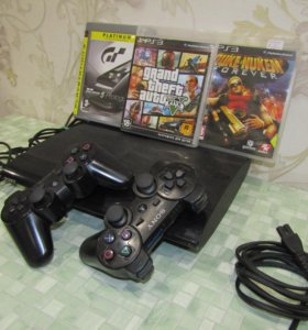 PS3 500гб 50+игр GTA5 SuperS 2джоя +диски
