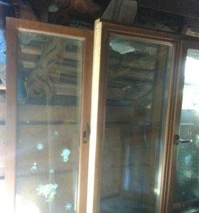 Евро Окна БУ деревянные; Дверь деревянная