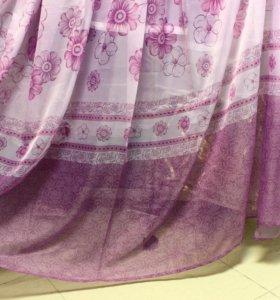 Пошив штор. Тюль с сиреневыми цветами.