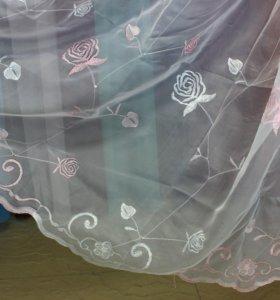 Тюль органза с розовой вышивкой розы