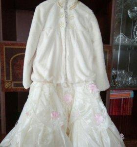 Платье и шубка на выпускной.