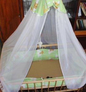 Кроватка с балдахином и мягкими бортиками