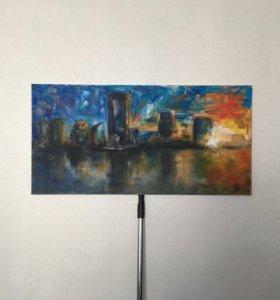 Картина «Город», масло, холст, 800*400мм
