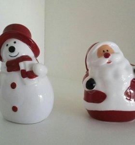 Солонка перечница набор Снеговик Дед Мороз