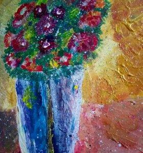 Картина акрилом «Цветы в горшке»