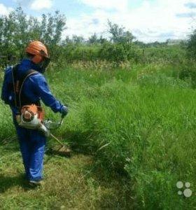 Покос травы бензотриммером.