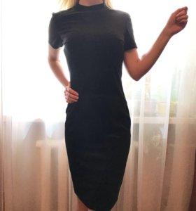Бархатное чёрное платье-карандаш [ОКРОХА]