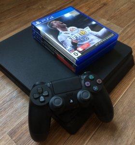 PS4 Slim 500GB + игры + профиль с играми
