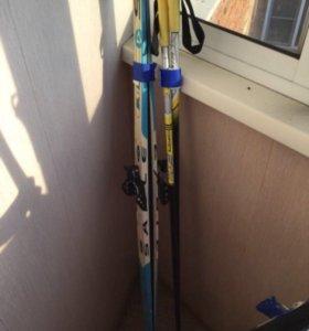 Лыжи, лыжные палки, ботинки 39 размера