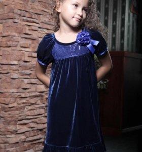 Платье для девочки бархатное, нарядное р.116