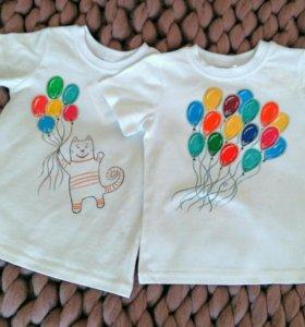Надпись рисунок на футболке Детская майка роспись
