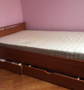 Кровать с ящиками 120 и матрасом