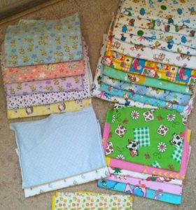 Детские пелёнки, клеёнка и махровые полотенца