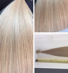 Волосы блонд для наращивания на капсулах 50 и 60см