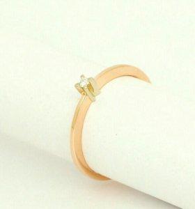 Кольцо 2шт,золото бриллианты 2мм