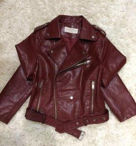 Куртка кожаная бордовая (новая)