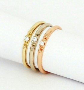 Кольцо 2 шт.Золото желтое и белое,бриллианты 2мм